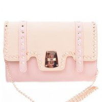 Social Butterly Colorblock Studded Oversized Clutch in Beige/Pink | Sincerely Sweet Boutique