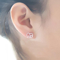 Cute 925 Sterling Silver Elephant Studs — accessoryinlove