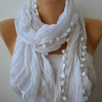 White Women Shawl Scarf  Headband Necklace Cowl by fatwoman-126