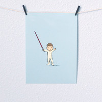 Baby Boy Star Wars Nursery Art Jedi with red lightsaber Illustration Digital Print 5x7 sky blue