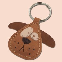 Chowder The Cute Little Puppy Leather Animal Keyring by snis