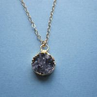 Tiny Amethyst Quartz Druzy / Druze Necklace by by MarisaLeeDesigns