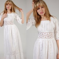 Vintage 70s MEXICAN Wedding Dress White CROCHET by LotusvintageNY