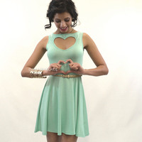 Mint Heart Cut Out Skater Dress
