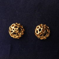 Noble Hollow out Flower Golden Earrings
