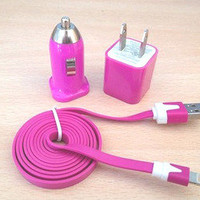 Bestgoods  3pcs/Lot!1m  USB Cord 1PCS USB Power Adapter Wall Charger and 1Pcs Car Charger For Iphone 4/4s/5