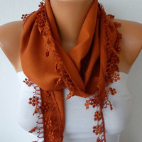 Burnt Umber Scarf   Cotton  Scarf  Headband Necklace by fatwoman-xr4
