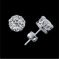 Silver CZ Crown Shape Studs