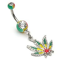 "Amazon.com: 14g Dangling Rasta Pot Leaf Sexy Belly Button Navel Ring Dangle Body Jewelry Piercing with Surgical Steel Bar 14 Gauge 3/8"" Nemesis Body JewelryTM: Everything Else"