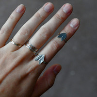 Arrow Vane Silver Chevron Stacker and Upper Knuckle Ring - Select Size and Finish
