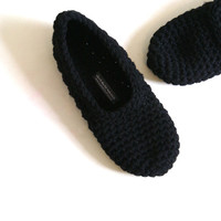 Crochet Slippers For Women - Black