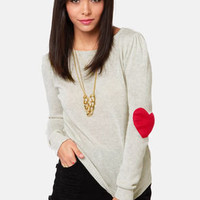 Heart On Your Sleeves Beige Sweater