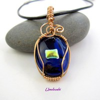 Red Brass Wrapped Dichroic Glass Cabochon Pendant - Iridescent Accent