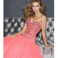 Coral Rhinestone & Tulle Strapless Lace Up Prom Gown - Unique Vintage - Prom dresses, retro dresses, retro swimsuits.