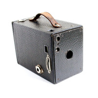 Antique Kodak Brownie No 2 Camera - 1910s Art Deco 120 Film Vintage Black Box Camera / Rectangular Box