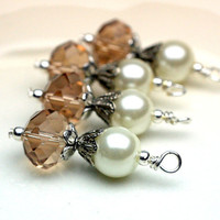 Vintage Style White Pearl and Smokey Topaz Crystal Bead Dangle Charm Drop Set - 4 Piece