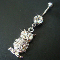 14g~3/8 Cute Owl Belly Button Navel Rings Ring Bar Body Piercing Jewelry R21