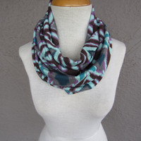 Tribal Infinity Scarf - Teal and Purple Circle Scarf - Peacock Print Scarf - Tribal Print Cowl