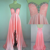 2013 Style Sweetheart Pink beadings Asymmetrical Prom Dress