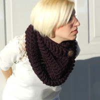 The Northerner crochet infinity scarf, winter cowl, crochet button cowl in wine