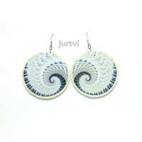 Big Earrings - White Earrings - Clay Fractals - Polymer Clay Earrings - Fashion Earrings by Jursvi