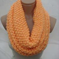 Knitted Hooded Cowl/Scarf/Neck Warmer (Solid Orange) by Arzu&#x27;s Style