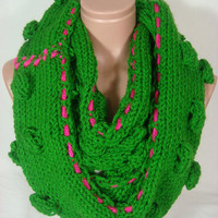 NEW-Knitted Loop Scarf, Infinity Scarf (Green, Fuchsia) by Arzu's Style