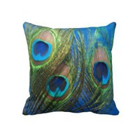 Fish Eye Peacock Still Life Throw Pillows from Zazzle.com