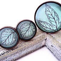 Jewelry Set - Ring and Earrings- turquoise glass cabochons with different leafs in bronze setting