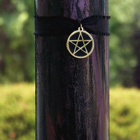 DARK MYSTERY Inlaid Pentacle Signature Soy Candle w/ Dark Amber, Chocolate Kakao, Vetiver, Tuberose, Sandalwood, Sweet Cream, Ylang & More