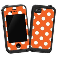 "White Polka Dot on Tangerine ""Protective Decal Skin"" for LifeProof 4/4S Case"