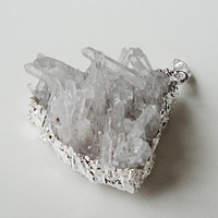 Rough Raw Chunky Crystal Druzzy Drusy Grey Agate Dipped Silver Drusy Druzy Cactus Tips Spears