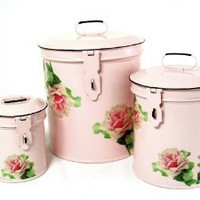 Retro Vintage Canister Set ~ Kitchen Storage Canisters E8 Decorative Containers ~ Shabby Chic Pink Enamel with Shabby Antique Rose