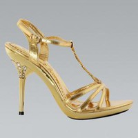 Gold Diamante Strappy High Heel Shoes