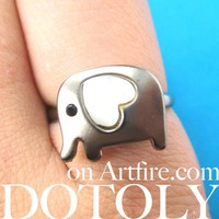Adjustable Elephant Animal Ring in Dark Silver with Heart Shaped Ears from Dotoly Love