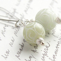 Light Green Jade Earrings Carved Stone Sterling by KapKaDesign