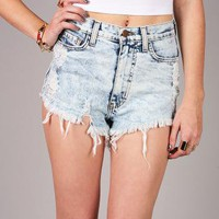 Total Wreck Denim Shorts | High Rise Shorts at Pinkice.com