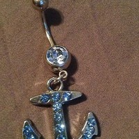 Anchor Blue Belly Ring