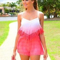 Pink Ombre Sleeveless Playsuit with Crochet Hem Detail