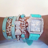 Belle La Vie Boutique  Turquoise Faith Silver Watch Set