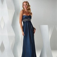 Column Floor Length Strapless Prom Dress With Sequins Belt Navy 1315