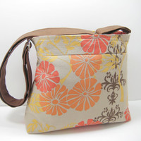 Orange Floral Purse, Floral Cross Body Bag, Small Tote, Red and Orange Floral Print, with Adjustable Strap