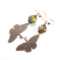 Summer Flight Butterfly Earrings Colorful Glass Beaded and Etched Copper Butterfly Earrings