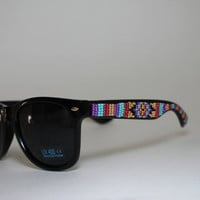 Beaded Sunglasses Native American Tribal Print by brownbeadednet