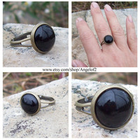 Protection - Black Onyx Cabochon Adjustable Ring                    - Antique Bronze