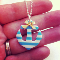 Anchor necklace with bow  by 2tinyhearts on Etsy