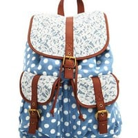 Lace Trim Chambray Polka Dot Backpack: Charlotte Russe