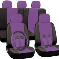 PU Faux Leather Seat Covers Full 17 Piece Set Purple and Black for Car Truck SUV Van : Amazon.com : Automotive