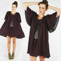 vtg 90s 70s boho hippie brown ETHNIC sheer GAUZE ANGEL bell sleeve slouchy tent fit tunic mini dress S M L