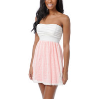 Lunachix Ivory &amp; Neon Pink Crochet Strapless Dress